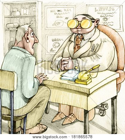 a patient amazed at the desk of a famous doctor the doctor has two gold coins instead of spectacles