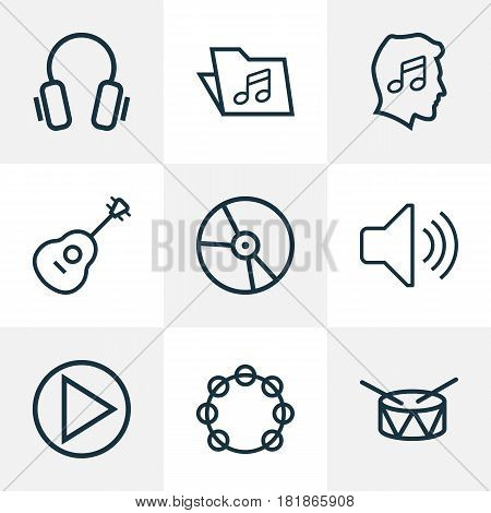 Audio Outlines Set. Collection Of Barrel, Template, Timbrel And Other Elements. Also Includes Symbols Such As Device, Earphones, Plastic.