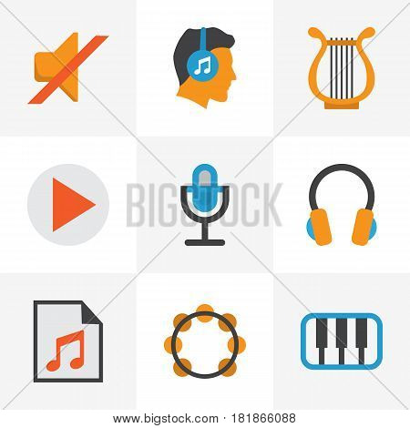 Multimedia Flat Icons Set. Collection Of Ear Muffs, Button, Media And Other Elements. Also Includes Symbols Such As Microphone, Pianoforte, Media.