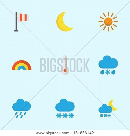 Meteorology Flat Icons Set. Collection Of Banner, Temperature, Drizzles And Other Elements. Also Includes Symbols Such As Winter, Colors, Shower.