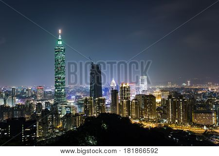 Taipei City Night Scene Landscape Taipei 101 is the symbol of Taiwan (Republic of China)