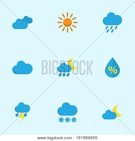 Meteorology Flat Icons Set. Collection Of Snow, Cloud, Shower And Other Elements. Also Includes Symbols Such As Hailstones, Cloudy, Hot.
