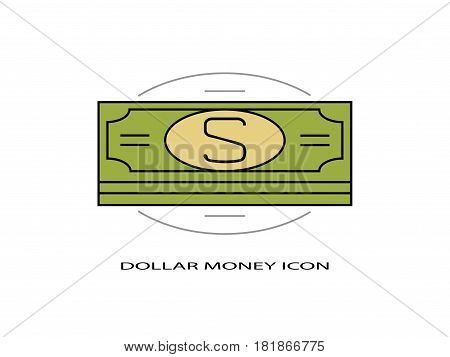 Line Icon Flat thin linear stroke vector object. For website graphics, Mobile Apps, Infographics. Pictogram pack. Easy resize to 256, 512 pixels, easy edit colors. Dollar money cash