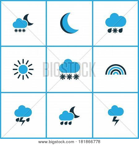 Weather Colored Icons Set. Collection Of Blizzard, Arc, Cold Weather And Other Elements. Also Includes Symbols Such As Snow, Blizzard, Cold.