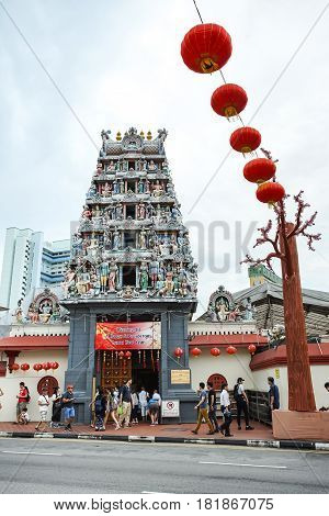 PAGODA STREET SINGAPORE - JAN 20 2017: Pagoda on the gate of Sri Mariamman Temple this Hindu temple is neary the Chinese temple - Buddha Tooth Relic Temple.