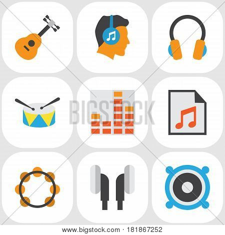 Audio Flat Icons Set. Collection Of Acoustic, Band, Ear Muffs Elements. Also Includes Symbols Such As Equalizer, Samba, List.