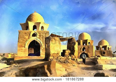 Colorful painting of Mausoleum, Fatimid cemetery, Aswan, Egypt