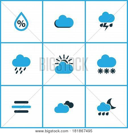 Weather Colored Icons Set. Collection Of Snowfall, Thunderstorm, Overcast And Other Elements. Also Includes Symbols Such As Gust, Snow, Thunderstorm.