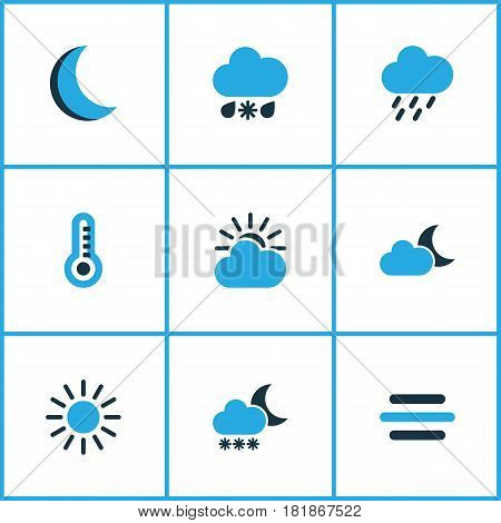 Weather Colored Icons Set. Collection Of Sunny, Moonshine, Overcast And Other Elements. Also Includes Symbols Such As Thermostat, Temperature, Thermometer.