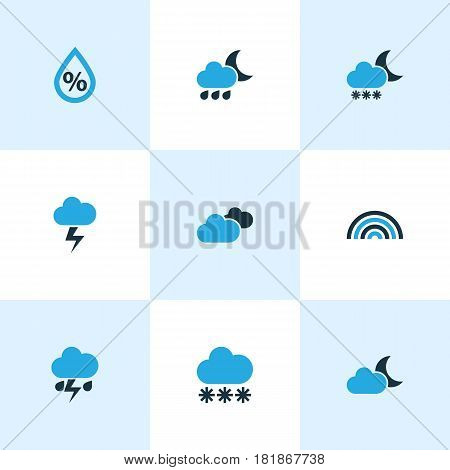 Climate Colored Icons Set. Collection Of Drizzle, Snowfall, Thunderstorm And Other Elements. Also Includes Symbols Such As Rainbow, Thunderstorm, Variegation.