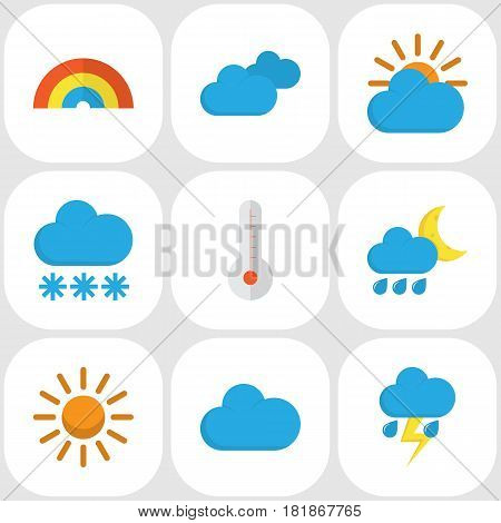 Nature Flat Icons Set. Collection Of Hailstones, Bow, Sun And Other Elements. Also Includes Symbols Such As Rainbow, Hot, Rain.