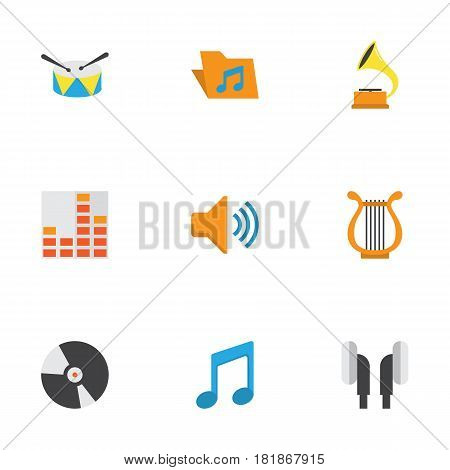 Audio Flat Icons Set. Collection Of Earpiece, Band, Sonata Elements. Also Includes Symbols Such As Vinyl, Controlling, Tone.