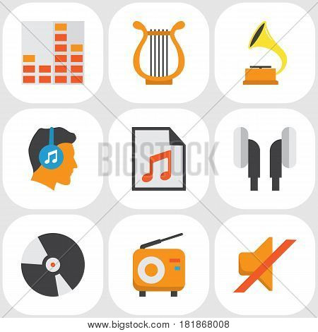 Music Flat Icons Set. Collection Of Media, Controlling, Shellac And Other Elements. Also Includes Symbols Such As Headphone, Vinyl, Shellac.