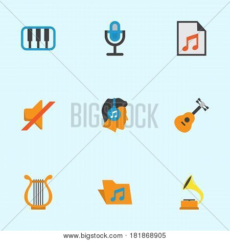 Audio Flat Icons Set. Collection Of Pianoforte, Sonata, Media And Other Elements. Also Includes Symbols Such As List, Volume, Shellac.