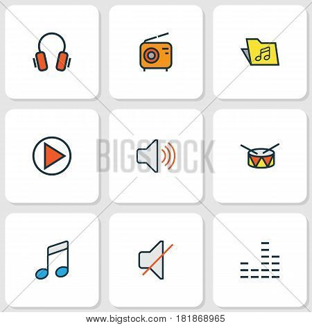 Music Colored Outlines Set. Collection Of Earphones, Mute, Volume And Other Elements. Also Includes Symbols Such As Barrel, Radio, Volume.