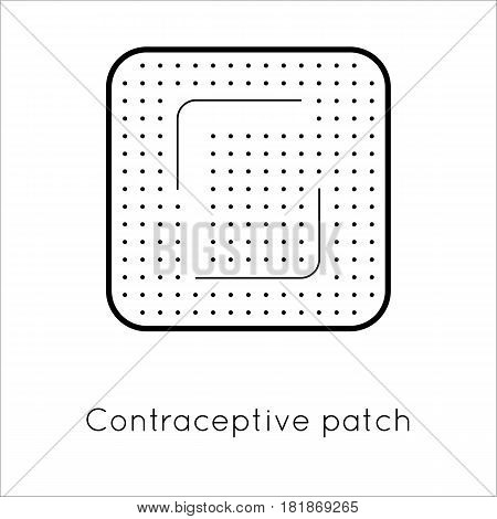 Contraception method patch. Estrogen contraceptive patch. Female hormonal contraceptive. Medical birth control. Planning pregnancy. Flat vector illustration isolated on white background poster