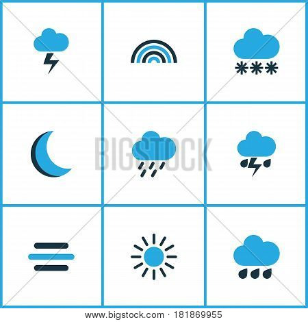 Weather Colored Icons Set. Collection Of Lightning, Thunderstorm, Rainstorm And Other Elements. Also Includes Symbols Such As Lightning, Storm, Rainbow.