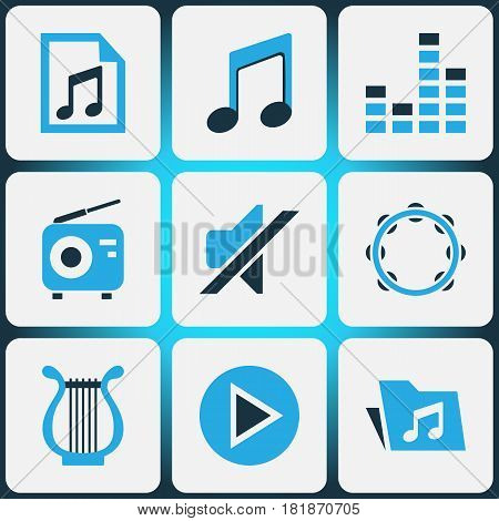 Audio Colored Icons Set. Collection Of Radio, Note, Play And Other Elements. Also Includes Symbols Such As Sound, Tuner, Controlling.