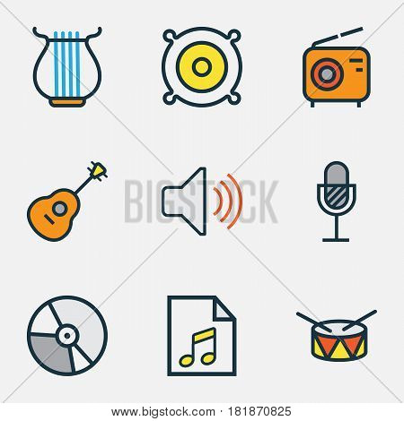 Multimedia Colored Outlines Set. Collection Of Amplifier, Harp, Barrel And Other Elements. Also Includes Symbols Such As Circle, Volume, Soundtrack.