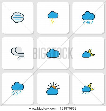 Nature Colored Outlines Set. Collection Of Windy, Cloudburst, Hazy And Other Elements. Also Includes Symbols Such As Cloud, Clouded, Moon.