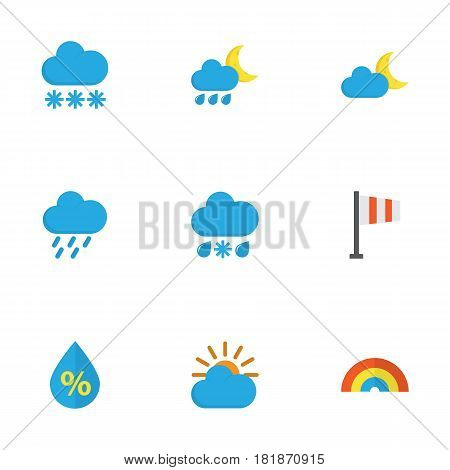 Weather Flat Icons Set. Collection Of Drop, Banner, Hailstones And Other Elements. Also Includes Symbols Such As Hailstones, Shower, Flag.