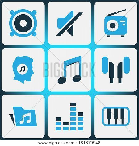 Audio Colored Icons Set. Collection Of Headphone, Piano, Speaker And Other Elements. Also Includes Symbols Such As Dossier, Mixer, Earmuff.
