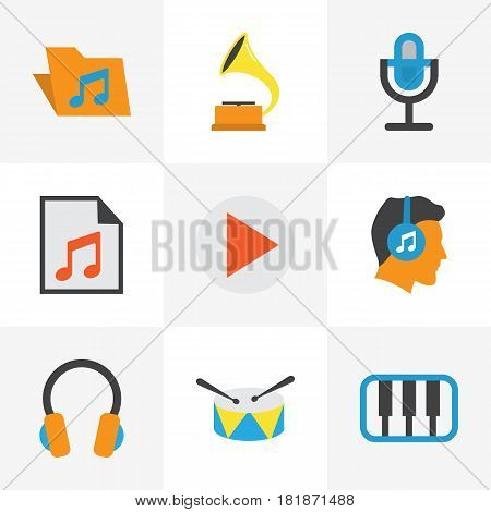 Multimedia Flat Icons Set. Collection Of Portfolio, Shellac, Media And Other Elements. Also Includes Symbols Such As Mic, Music, Gramophone.