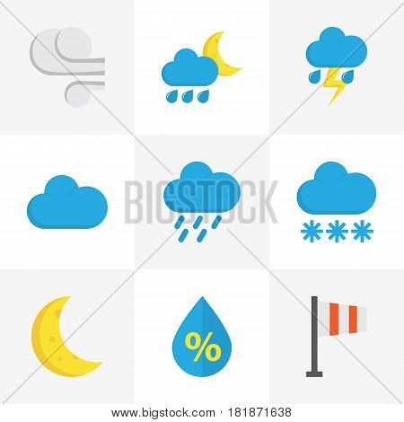 Climate Flat Icons Set. Collection Of Shower, Drop, Cloud And Other Elements. Also Includes Symbols Such As Shower, Rain, Demilune.