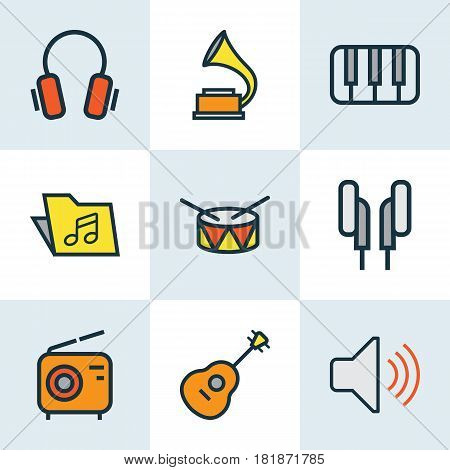 Multimedia Colored Outlines Set. Collection Of Volume, Strings, Keys And Other Elements. Also Includes Symbols Such As Keys, Piano, Bit.