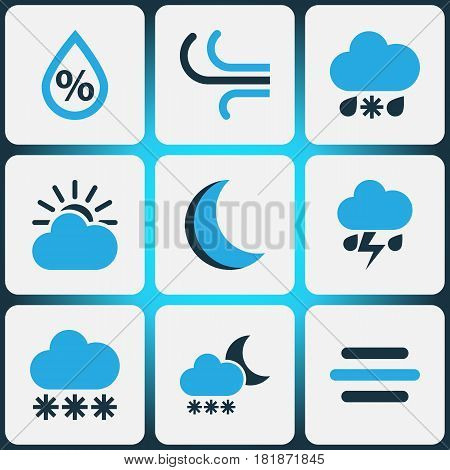 Nature Colored Icons Set. Collection Of Snowfall, Thunderstorm, Cold Weather And Other Elements. Also Includes Symbols Such As Gust, Wind, Cloudy.