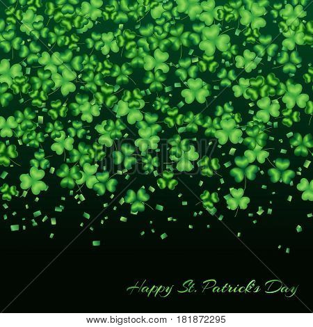 Pattern clover leaves on a green background with confetti to celebrate St. Patricks Day