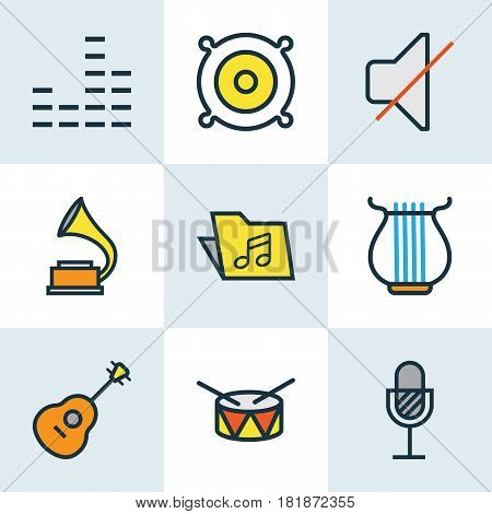 Music Colored Outlines Set. Collection Of Harp, Template, Barrel And Other Elements. Also Includes Symbols Such As Drum, Package, Guitar.