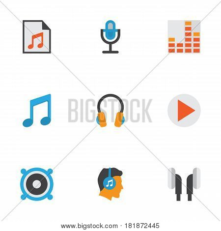 Multimedia Flat Icons Set. Collection Of Earpiece, Loudspeaker, Media And Other Elements. Also Includes Symbols Such As Loudspeaker, Equalizer, Karaoke.