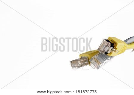 Network patchcord cables with RJ45 connector on white background
