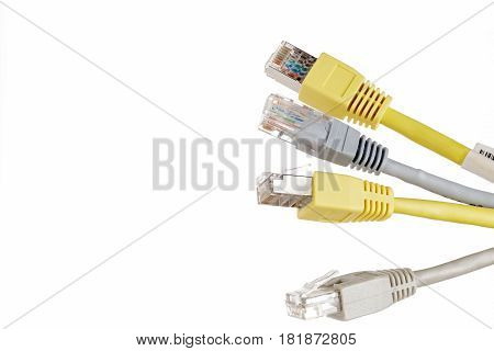 Four telecommunication cable with connector RJ45 on white background