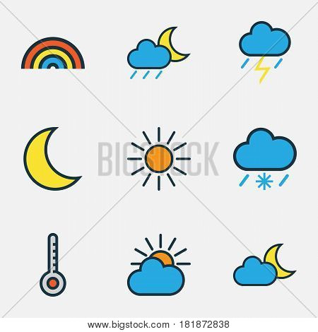 Meteorology Colored Outlines Set. Collection Of Sunshine, Rainbow, Tornado And Other Elements. Also Includes Symbols Such As Rainbow, Thunderstroke, Solar.