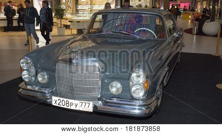 Moscow, Russia - April 02, 2017: Mercedes-benz W111 280Se Coupe, Germany, 1970. Retro Car Exibition