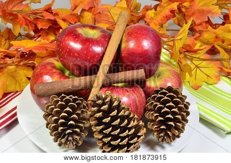 Display of Cortland apples autumn harvest and fall color leaves with pine cones and cinnamon sticks on a white plate