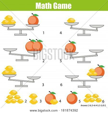 Mathematics Educational Game Vector & Photo | Bigstock