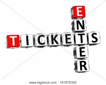 3D Ticket Enter Crossword On White Background