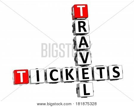 3D Tickets Travel Crossword On White Background