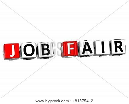 3D Job Fair Block Text On White Background.