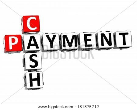 3D Cash Payment Crossword On White Background