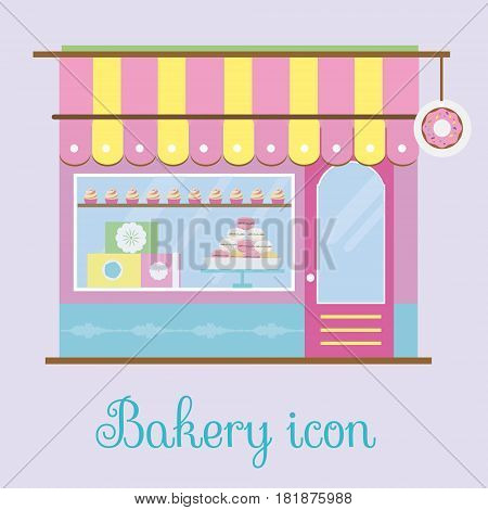 Bakery facade view. Bakehouse icon. Pastry store patisserie candy shop. Storefront view. Patisserie with macaroons and cupcakes. Vector illustration.