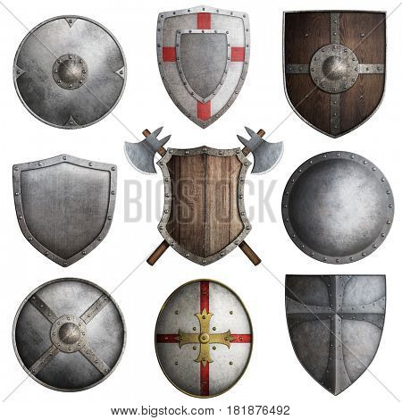 various knight shields set 3d illustration