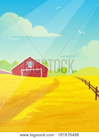 Landscape with farm and field. Minimalistic landscape design in cartoon style