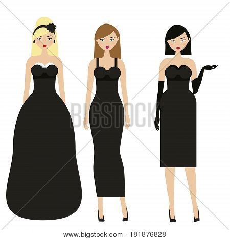 Women in black dresses. Female night evening dressy dresscode. Ladies in elegant fashionable clothes