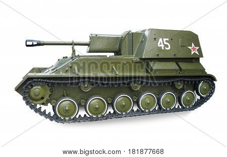Soviet self-Propelled artillery mount SU-76 participant during the second world war isolated on white background