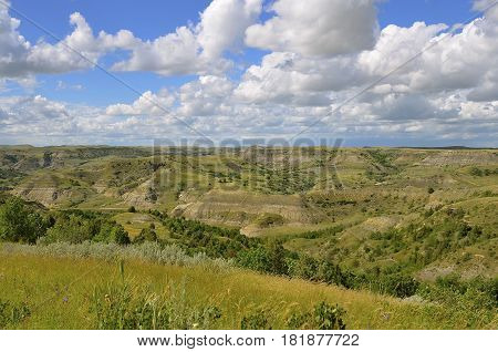 Scenic view of the North Unit of the North Dakota Badlands, Roosevelt National Park.