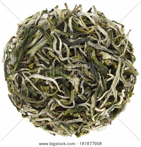 Organic gren tea Cui Ming Bright Emerald round shape isolated overhead view